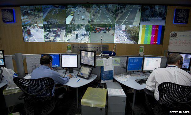 Control room surveys CCTV pictures