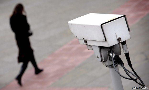 CCTV points towards woman walking