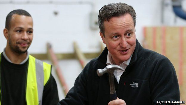 David Cameron with a hammer