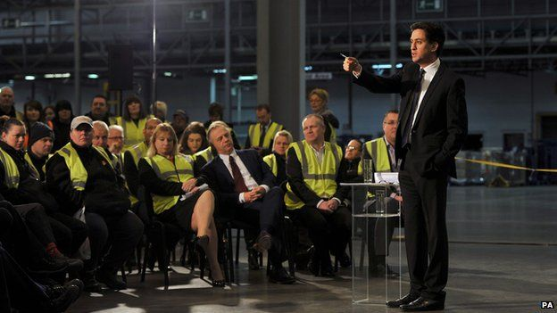 Ed Miliband taking questions from an audience at a B&Q distribution centre in Worksop