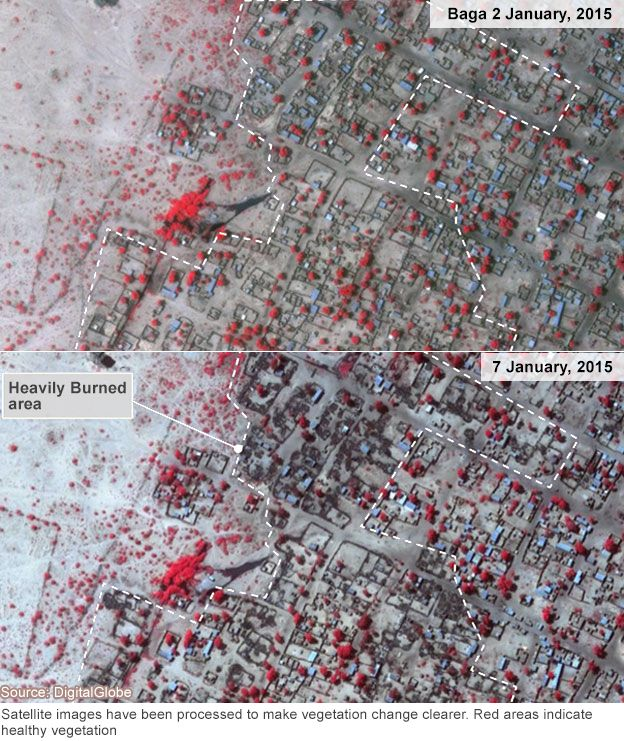 Baga before and after satellite images