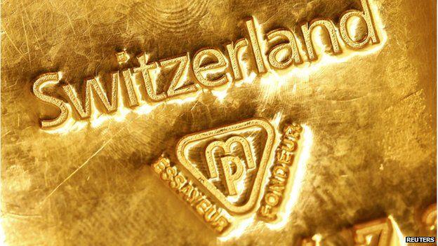 Gold bar marked Switzerland
