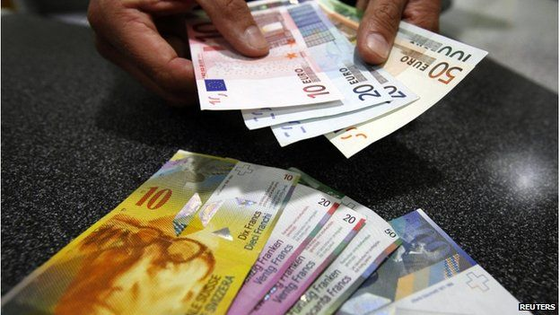 Bank teller's hands with swiss francs