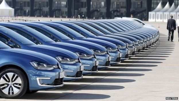 Row of VW cars in Berlin
