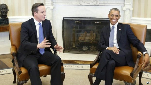 David Cameron and Barack Obama meeting in the Oval Office at the White House