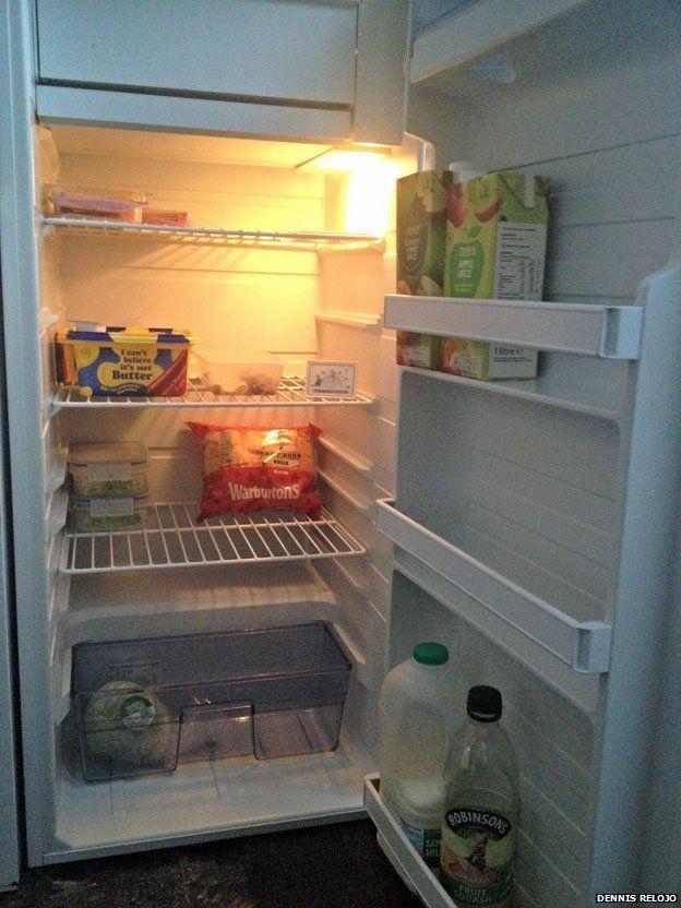 A half-empty fridge