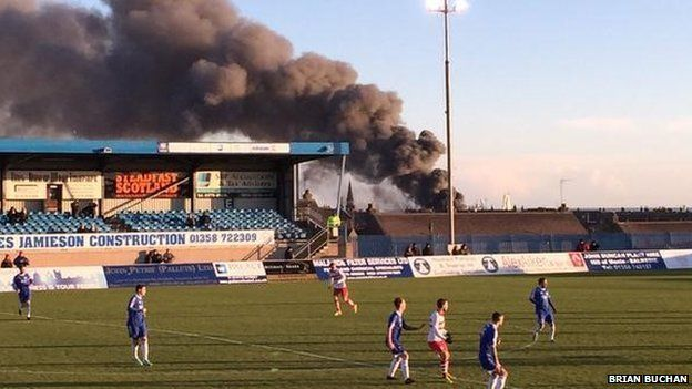 Clouds of smoke from fire over Balmoor Stadium