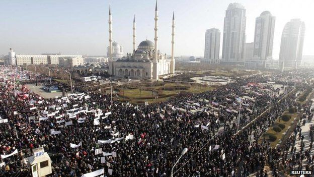 Tens of thousands attend an anti-Charlie Hebdo protest in Grozny, Chechnya, 19 Jan