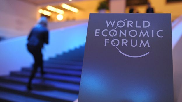 "Sign reads ""World Economic Forum"""