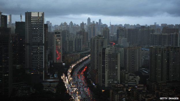 Clouds cover the city's skyline in the Chinese city of Guangzhou