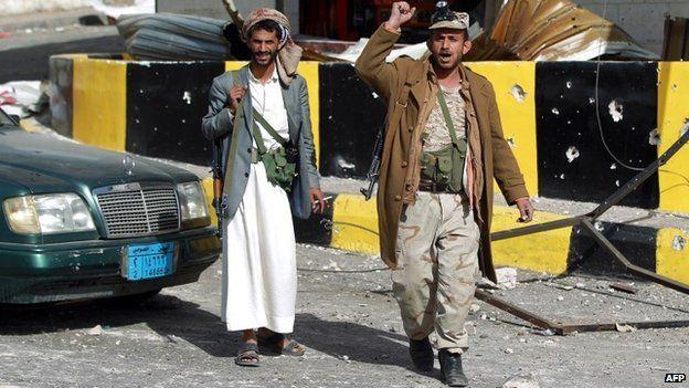 Houthi rebels in Sanaa (20 Jan 15)