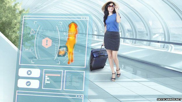 Graphic of woman being scanned