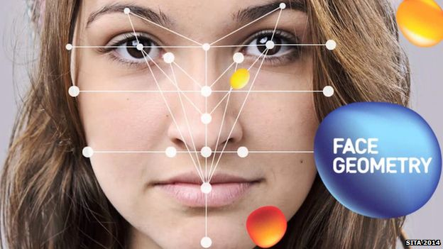 Graphic of woman's face being scanned