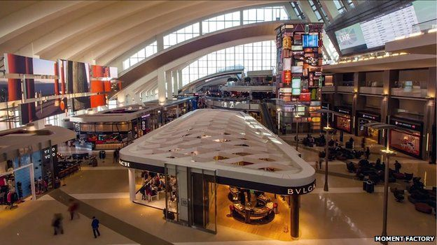 High view of Tom Bradley Terminal media displays