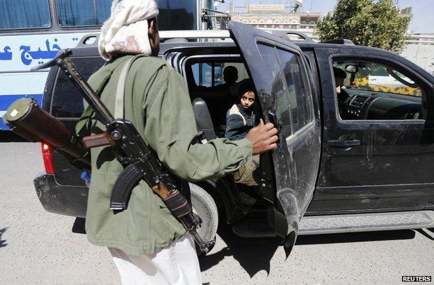 A Shia Houthi rebel in Sanaa, 20 January