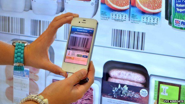 Tesco virtual shopping wall at Gatwick