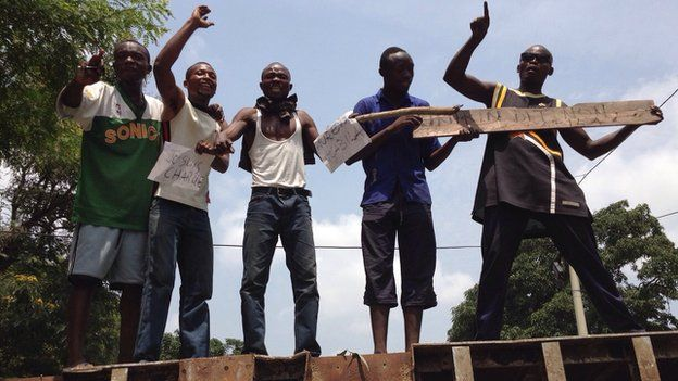 Protesters in Kinshasa on 21 January 2015