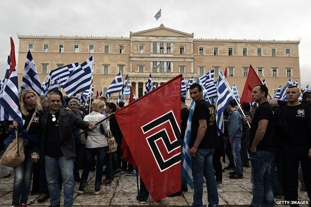 Supporters of the Golden Dawn ultra-nationalist party gather in front of the Greek parliament in Athens on 4 June 2014.