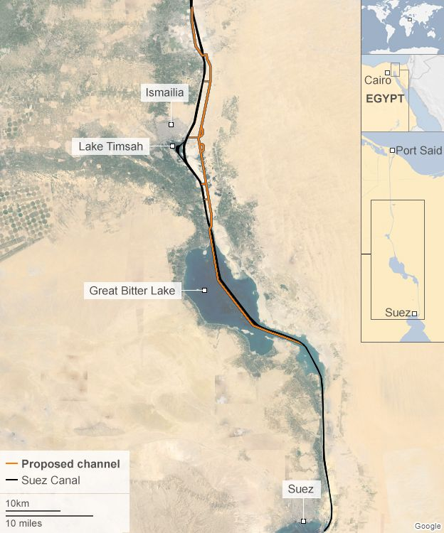 Egypt holds trial run on second suez canal bbc news map showing the proposed route of the second suez canal waterway gumiabroncs