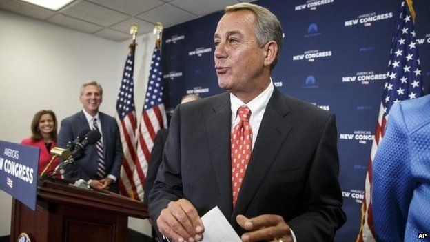 On the morning after President Barack Obama's State of the Union speech, House Speaker John Boehner of Ohio, leaves a news conference on Capitol Hill in Washington, 21 January 2015