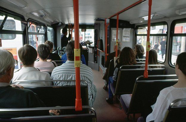 Inside a bus in Cambridge, 1999