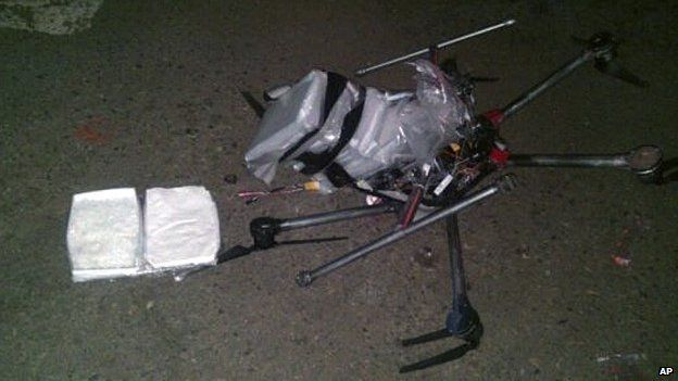 Crashed drone carrying drugs in Mexico, 21 January 2015
