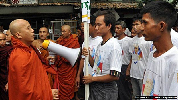 Wirathu leading a demonstration through Mandalay in support of Thein Sein's plan to deport and resettle ethnic Rohingya's to a third country - 2012