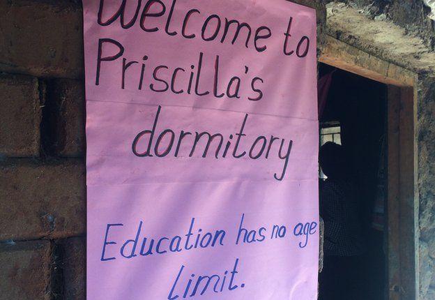 "Sign outside Priscilla Sitienei's dormitory reading ""Education has no age limit"""
