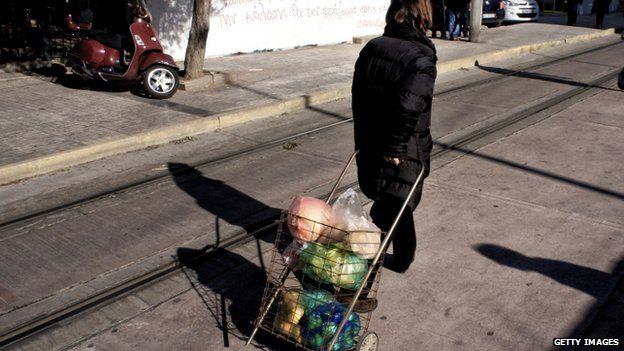Woman at market in Athens. 18 Jan 2015