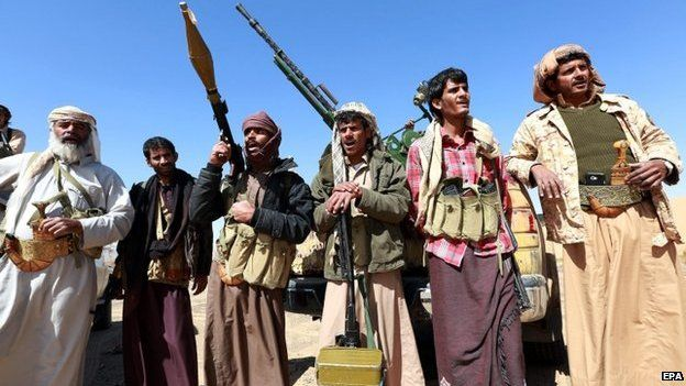 Tribal gunmen hold weapons apparently to protect their province from possible attacks by Shia Houthi rebels in the oil-rich province of Maarib, Yemen, 22 January