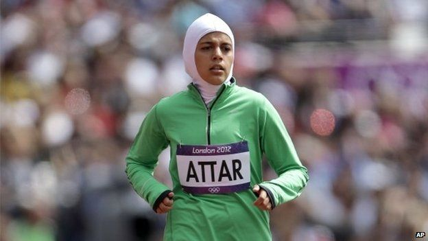 Saudi Arabia's Sarah Attar competes in a women's 800-meter heat during the athletics in the Olympic Stadium at the 2012 Summer Olympics, London, 8 August 2012