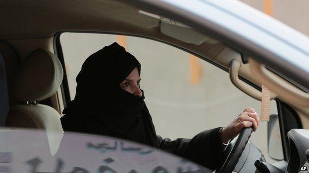 File photo: Aziza Yousef drives a car on a highway in Riyadh, Saudi Arabia, 29 March 2014