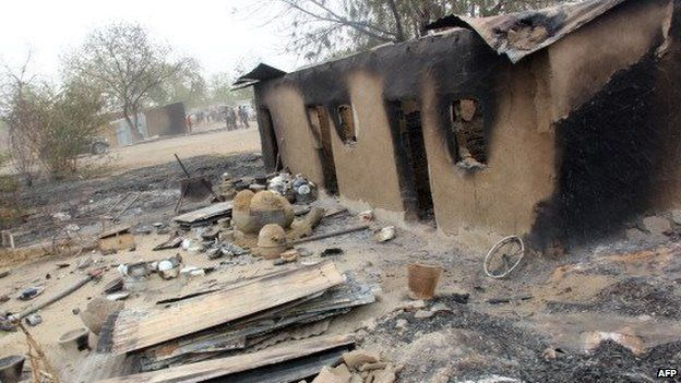 Burnt houses in Baga after a Boko Haram attack - Nigeria, 2013