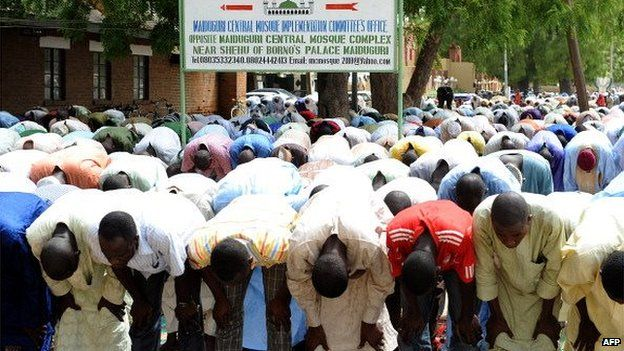 Muslims pray at Maiduguri Central Mosque in Nigeria - 2012