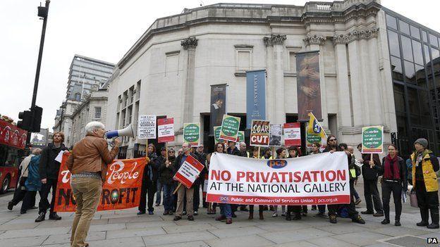 Demonstration outside the National Gallery