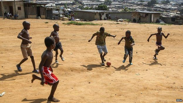 Children playing football in Abidjan