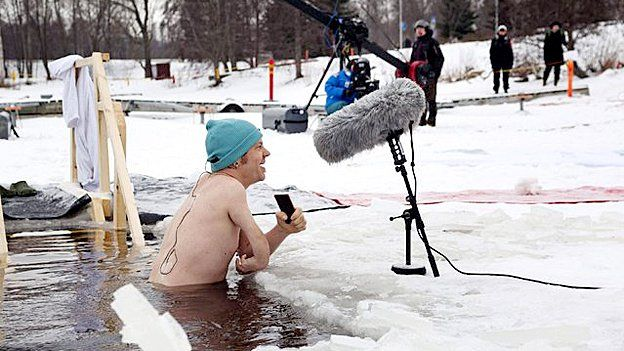 Polar Bear Pitching in the Northern Finnish city of Oulu, in an ice hole in the River Oulujoki