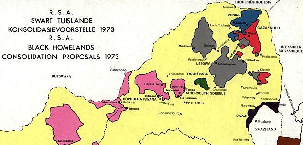 South Africa Homelands map, 1973