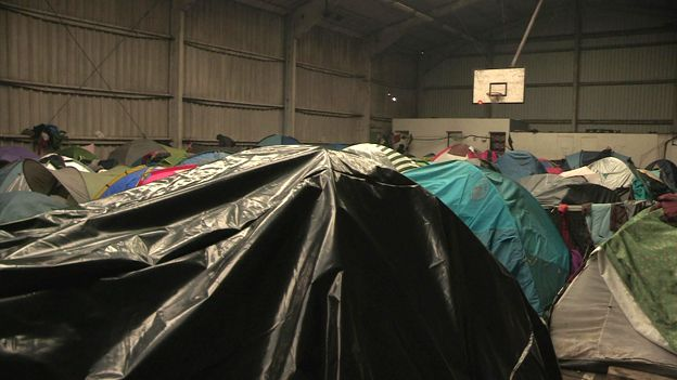 Tents in sports centre, Calais