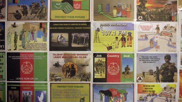 Leaflets made by the British Army 15 (UK) Psychological Operations Group are displayed in their office at the British army base Task Force Helmand Headquarter on July 25, 2008 in Lashkar Gah