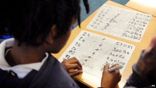 Primary school pupil doing maths
