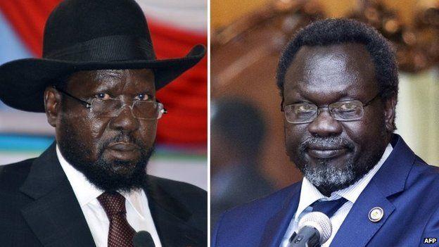 President Salva Kiir (left) and rebel commander Riek Machar. File photo