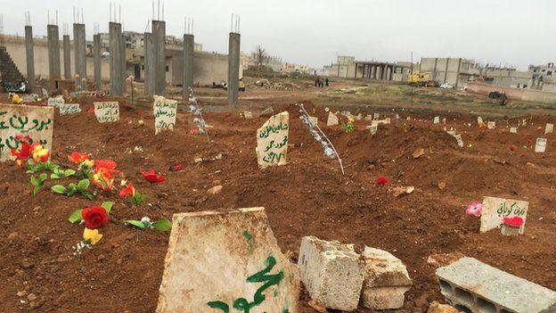 Kurdish gravestones in Kobane (January 2015)