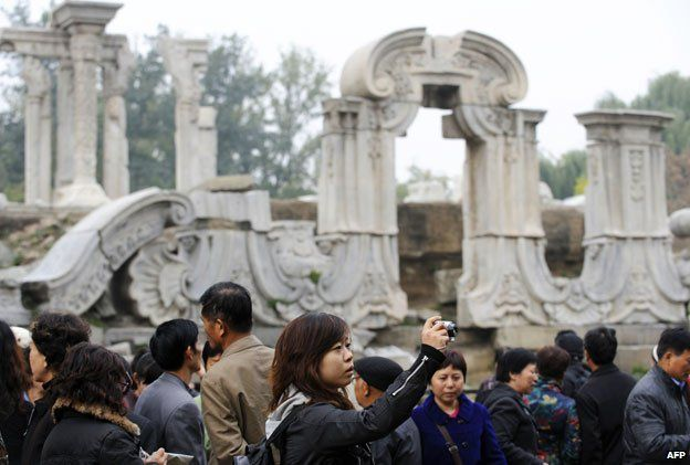 Tourists at the Old Summer Palace