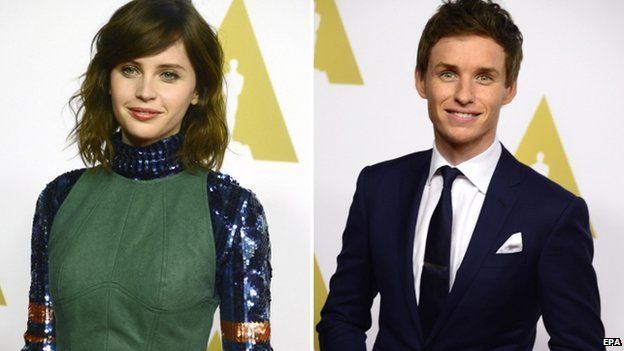 Felicity Jones and Eddie Redmayne are the British co-stars of The Theory of Everything.