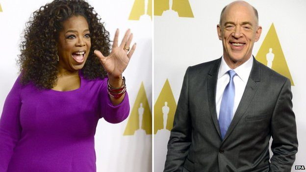Oprah Winfrey is nominated as a producer of Selma, while JK Simmons is favourite to win the best supporting actor category for his performance in drumming drama Whiplash.