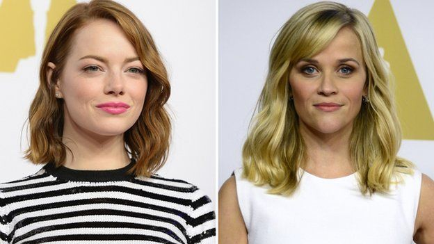 Emma Stone, a best supporting actress nominee for Birdman, was also there, alongside Reese Witherspoon, whose turn in Wild scored a best actress nomination.
