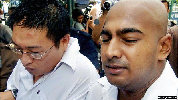 Andrew Chan and Myuran Sukumaran at court in Bali (Feb 2006)