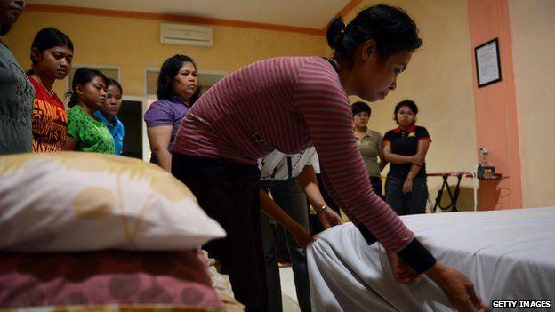 Indonesian domestic maids train in Jakarta (file image)