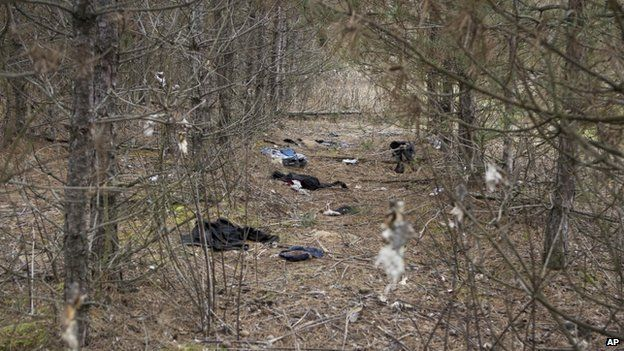 Clothes left behind by illegal immigrants in a forest near Asotthalom, southern Hungary, in December 2014